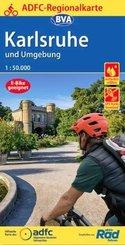ADFC-Regionalkarte Karlsruhe und Umgebung,1:50.000, reiß- und wetterfest, GPS-Tracks Download