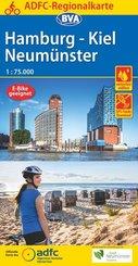 ADFC-Regionalkarte Hamburg/Neumünster/Kiel 1:75.000, reiß- und wetterfest, mit GPS-Tracks-Download