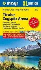 Mayr Karte Tiroler Zugspitz Arena XL, Ehrwald, Lermoos, Biberwier, Lähn/Wengle, Bichlbach, Berwang, Heiterwang, Plansee,