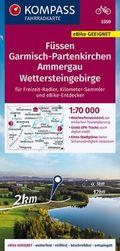 KOMPASS Fahrradkarte Füssen, Garmisch-Partenkirchen, Ammergau, Wettersteingebirge 1:70.000, FK 3350