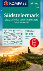 KOMPASS Wanderkarte S?dsteiermark, Graz, Leibnitz, Deutschlandsberg, Unteres Murtal, 2 Bl.