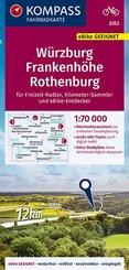 KOMPASS Fahrradkarte Würzburg, Frankenhöhe, Rothenburg 1:70.000, FK 3353
