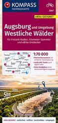 KOMPASS Fahrradkarte Augsburg und Umgebung, Westliche Wälder 1:70.000, FK 3347