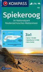 KOMPASS Wanderkarte Spiekeroog im Nationalpark NIedersächsisches Wattenmeer
