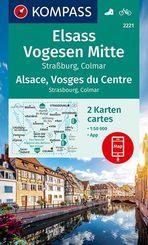 KOMPASS Wanderkarte Elsass, Vogesen Mitte, Alsace, Vosges du Centre, 2 Bl.