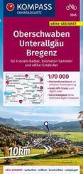 KOMPASS Fahrradkarte Oberschwaben, Unterallgäu, Bregenz 1:70.000, FK 3345