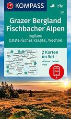 KOMPASS Wanderkarte Grazer Bergland, Fischbacher Alpen, 2 Bl.