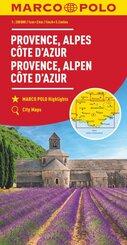 MARCO POLO Karte Provence, Alpes, Côte d'Azur 1:200 000