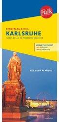 Falk Stadtplan Extra Standardfaltung Karlsruhe mit Ortsteilen von Ettlingen; BAND 18/VI