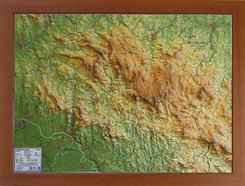 Bayerischer Wald Reliefkarte klein 1:275.000, m. Holzrahmen