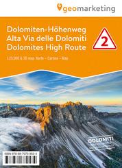 3D-Wanderkarte Dolomiten-Höhenweg / Alta Via delle Dolomiti / Dolomites High Route - Tl.2