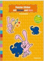Fenster-Sticker mit Elefant und Hase