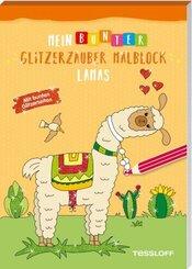 Mein bunter Glitzerzauber-Malblock - Lamas