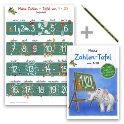 Meine Zahlen-Tafel von 1-20 Lernposter DIN A4 laminiert + Schreiblernheft DIN A5 + Staedler Bleistift, 3 Teile