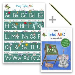 Mein Tafel-ABC Druckschrift Lernposter DIN A4 + Schreiblernheft DIN A5 auf 120g/m? Zeichenkarton + Staedler Bleistift, 3