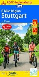 ADFC-Regionalkarte E-Bike-Region Stuttgart, 1:75.000, reiß- und wetterfest, mit GPS-Track Download