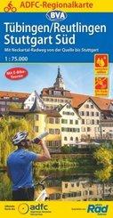 ADFC-Regionalkarte Tübingen/Reutlingen Stuttgart Süd, 1:75.000, reiß- und wetterfest, GPS-Tracks Download