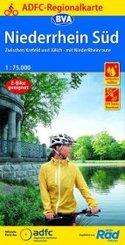 ADFC-Regionalkarte Niederrhein Süd 1:75.000, reiß- und wetterfest, GPS-Tracks Download