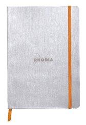 Rhodiarama flexi Blattes Notizbuch A5 80 Blatt liniert Papier elfenbein 90g, Silber
