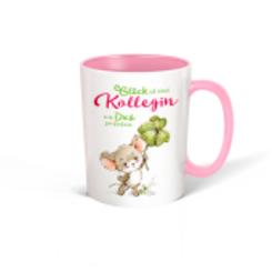 """Trötsch Tasse weiß rosa """"Glück ist eine Kollegin wie Dich zu haben"""""""
