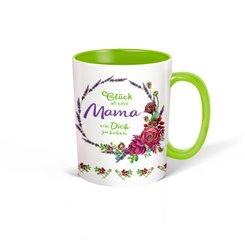 """Trötsch Tasse Kranz weiß grün """"Glück ist eine Mama wie Dich zu haben"""""""
