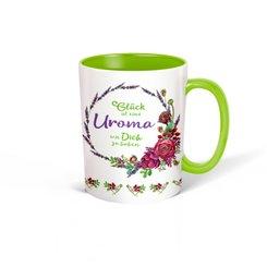 """Trötsch Tasse Kranz weiß grün """"Glück ist eine Uroma wie Dich zu haben"""""""