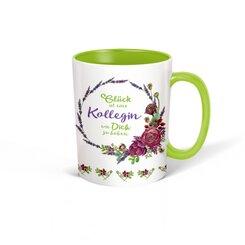 """Trötsch Tasse Kranz weiß grün """"Glück ist eine Kollegin wie Dich zu haben"""""""