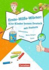 Erste-Hilfe-Wörter: Kita-Kinder lernen Deutsch mit Postern