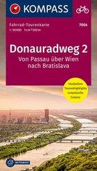 Fahrrad-Tourenkarte Donauradweg 2, Von Passau über Wien nach Bratislava