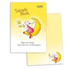 OUPS Schreibblock A5 - liniert - gelb