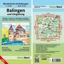 NaturNavi Wanderkarte mit Radwegen Balingen und Umgebung