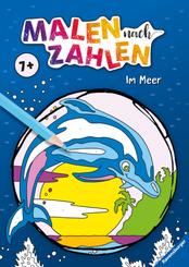 Ravensburger Malen nach Zahlen ab 7 Jahren: Im Meer - 24 Motive - Malheft für Kinder - Nummerierte Ausmalfelder
