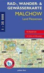 Rad-, Wander- und Gewässerkarte Malchow, Land Fleesensee