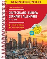 MARCO POLO Reiseatlas Deutschland 2021/2022 1:300 000, Europa 1:4 500 000