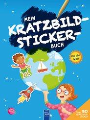 Mein Kratzbild-Stickerbuch - Um die Welt