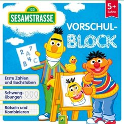 Sesamstraße Vorschulblock - Erste Zahlen und Buchstaben, Schwungübungen, Rätseln und Kombinieren