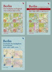 Dreier-Paket: Berlin, Vier Stadtpläne im Vergleich + 4 Ergänzungspläne + Berlin, Geschichte des Stadtgebiets