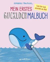 Mein erstes Guckloch-Malbuch für Kinder ab 2 Jahre (Wal) Ein Kreativ-Mitmachbuch zum Ausmalen und Fertigmalen: Schablone