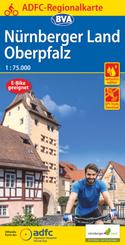 ADFC Regionalkarte Nürnberger Land/ Oberpfalz, 1:75.000, reiß- und wetterfest, GPS-Tracks Download - E-Bike geeignet