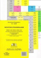 DürckheimRegister für SteuerErlasse EStG-LSt-KStG-UStG-AO-Gesetze und §§ 2021