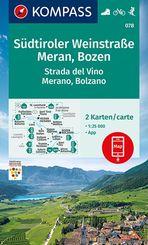 KOMPASS Wanderkarte Südtiroler Weinstraße, Meran, Bozen