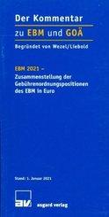 EBM 2021- Zusammenstellung der Gebührenordnungspositionen des EBM in Euro