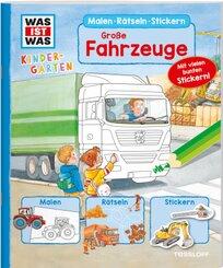WAS IST WAS Kindergarten Malen Rätseln Stickern Große Fahrzeuge