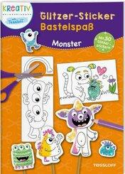 Glitzer-Sticker Bastelspaß. Monster