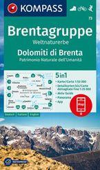 KOMPASS Wanderkarte Brentagruppe, Weltnaturerbe, Dolomiti di Brenta