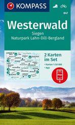 KOMPASS Wanderkarte Westerwald, Siegen, Naturpark Lahn-Dill-Bergland
