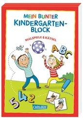 Mein bunter Kindergarten-Block: Malspiele und Rätsel