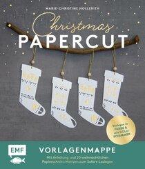 Set: Christmas Papercut - Die Vorlagenmappe mit Anleitung und 20 weihnachtlichen Papierschnitt-Motiven zum Sofort-Losleg