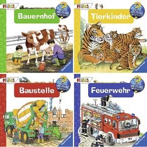 Ravensburger Minis - Wieso? Weshalb? Warum? - Bauernhof, Tierkinder, Baustelle, Feuerwehr (4 Hefte)
