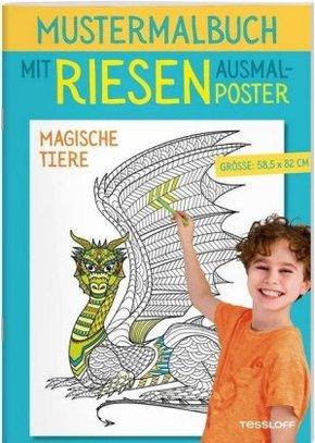 Mustermalbuch Magische Tiere - Mit Riesen-Ausmalposter